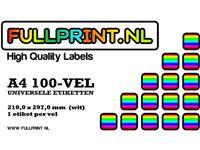 Fullprint etiketten 210x297mm (A4), 1 op een vel