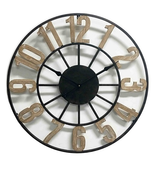 Open metal clock wood digits, 70 x 4.5 cm