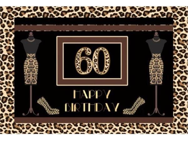 Verjaardag - Versiering - Wanddoek - Banner van Polyester - 120cm (b) x 80cm (h) - Vrouw - 60 jaar - Tijger - Pumps - Paspoppen