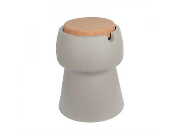Champ coolstool kruk/koeler/bijzettafel taupe met deksel/zitoppervlak van kurk