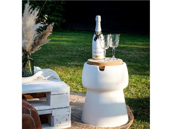 Champ coolstool kruk/koeler/bijzettafel off-white met deksel/zitoppervlak van kurk