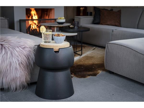 Champ coolstool kruk/koeler/bijzettafel zwart met deksel/zitoppervlak van kurk