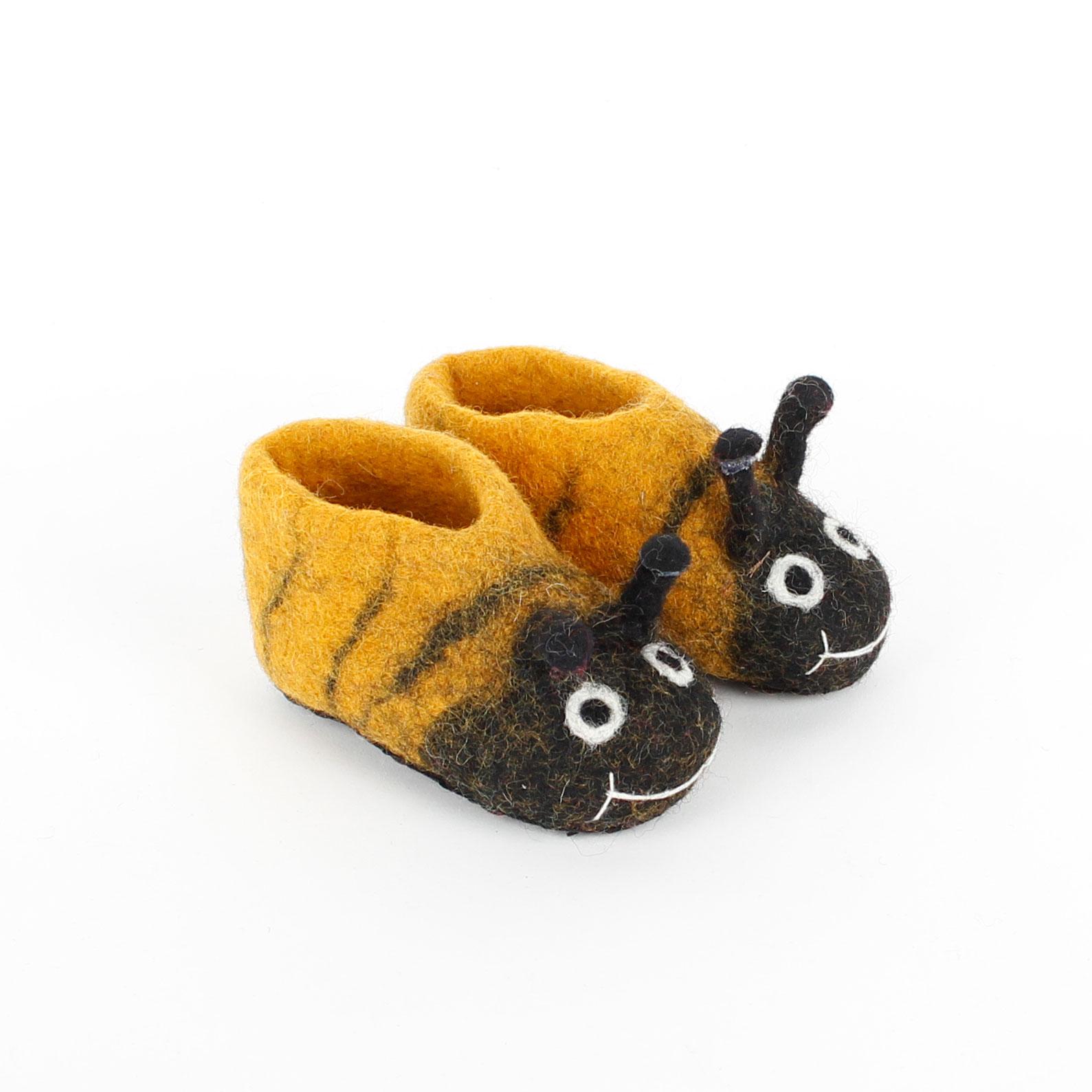 Slofjes - Kinder - Schoentje - Baby - Pantoffeltjes - maat 20 - (12-16 maanden) 12,3 cm -- 1 paar - Bijtjes - Fairtrade - Vilt