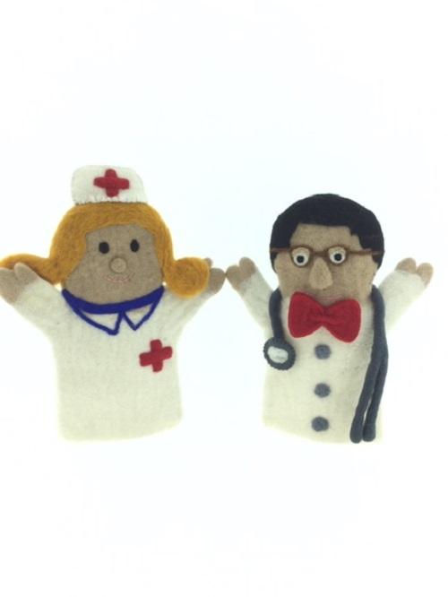 Handpop - Wolvilt - Fairtrade - set/2 - Dokter en Verpleegster