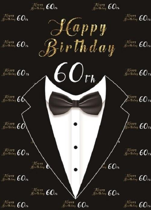 Wanddoek - Banner - Verjaardag - Versiering - 80 cm(b) x 120 cm(h) - Man - 60 jaar