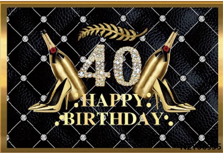 Verjaardag - Versiering - Wanddoek van Sterke Stof - 120cm(b)x80cm(h) - Vrouw - 40 jaar - Diamanten Gecapitonneerd