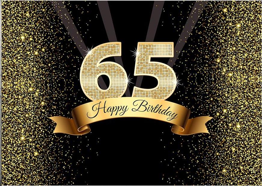 Verjaardag - Versiering - Wanddoek van Sterk Doek - 120cm(b)x80cm(h) - Vrouw/Man - 65 jaar