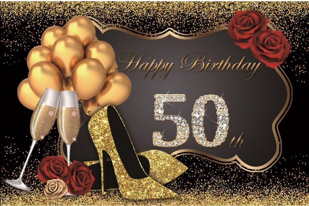 Verjaardag - Versiering - Wanddoek van Sterk doek - 120cm(b)x80cm(h) - Vrouw - 50 jaar