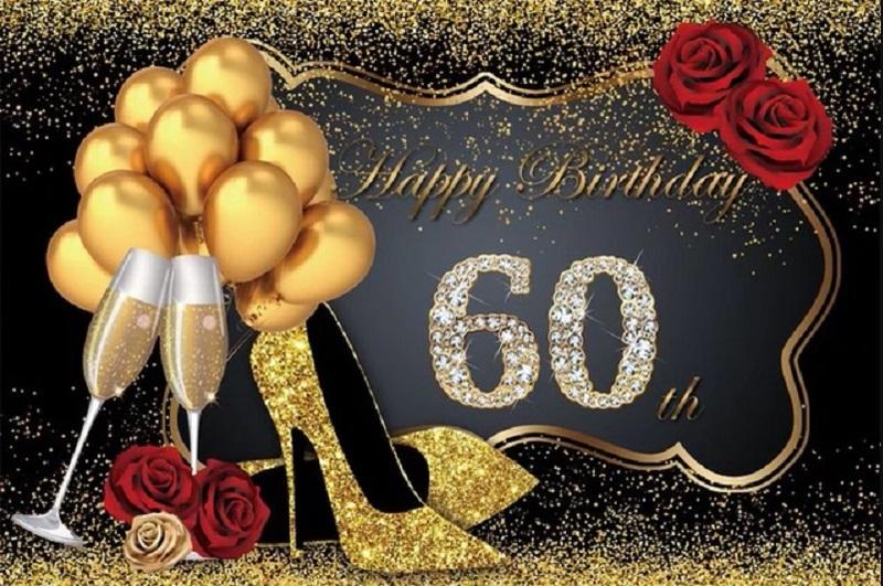 Verjaardag - Versiering - Wanddoek van stof - 120cm(b)x80cm(h) - Vrouw - 60 jaar