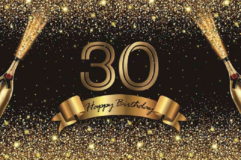 Verjaardag - Versiering - Wanddoek van Sterke Stof - 120cm(b)x80cm(h) - Vrouw/Man - 30 jaar - Champagneflessen