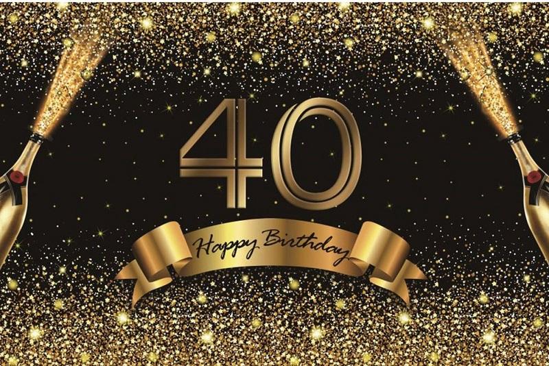 Verjaardag - Versiering - Wanddoek van Sterk doek - 120cm(b)x80cm(h) - Vrouw/man - 40 jaar - Champagneflessen
