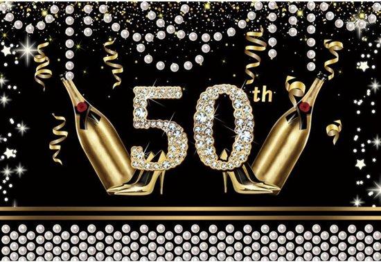 Verjaardag - Versiering - Wanddoek van Sterke Stof - 120cm(b)x80cm(h) - Vrouw - 50 jaar - Sarah