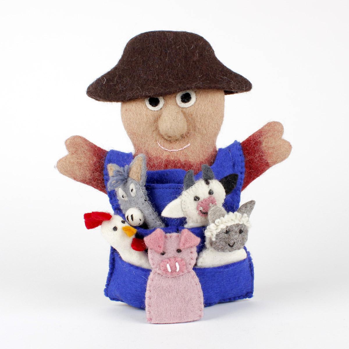 Handpop Boer met 5 vingerpopjes boerderij dieren - Vilt - Fairtrade - Handgemaakt.