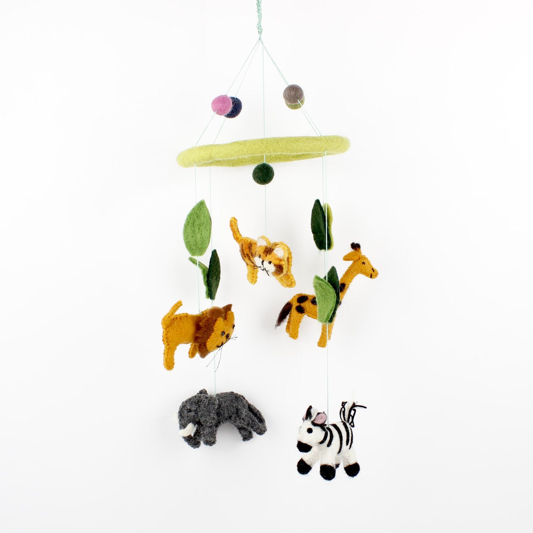 Mobiel - Safari/Jungledieren - Wolvilt - Fairtrade - Kinderkamer - Box - Wieg